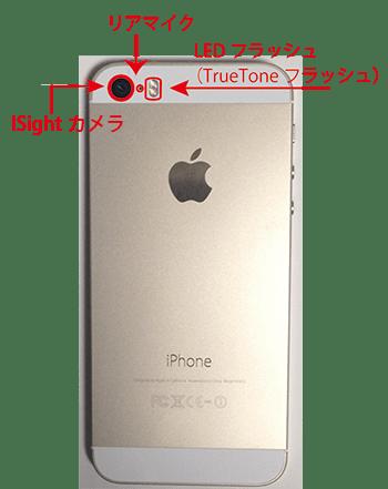 iphone5Sの裏面各部名称