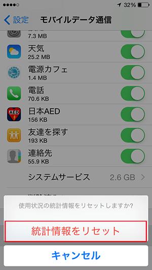 モバイルデータ通信の統計情報のリセット確認画面