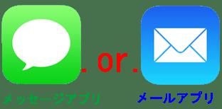 メッセージとメールアプりの選択