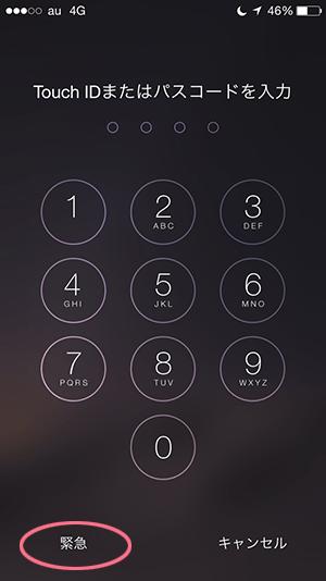 メディカルID_iPhoneパスコード入力画面