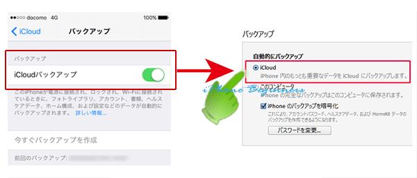 iCloud設定の自動バックアップとiTunesのバックアップ設定は連動している