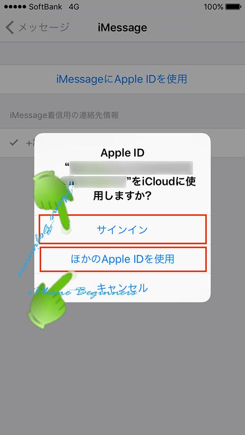iMessage_AppleIDサインイン_iCloudのAppleID確認画面