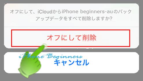 iCloudバックアップ削除確認画面