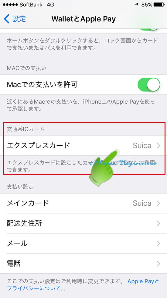 Walletアプリ設定画面_エクスプレスカード