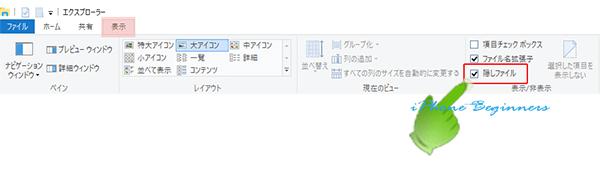 Windows10_エクスプローラーの隠しファイル属性