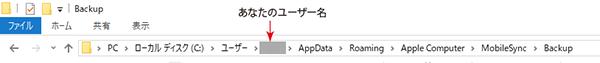 Windows10_iTunesバックアップの保存フォルダー