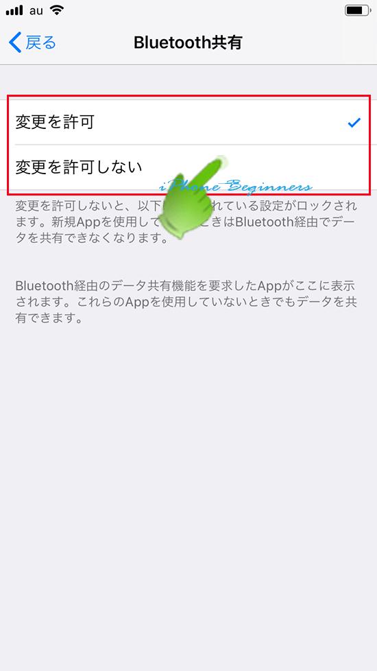 スクリーンタイム設定_コンテンツとプライバシーの制限_Bluetooth共有設定