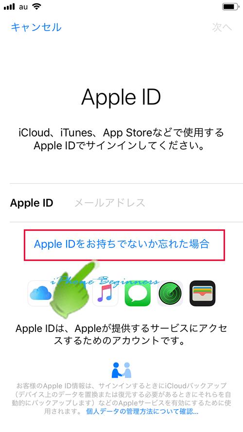 初期設定のAppleIDサインイン画面