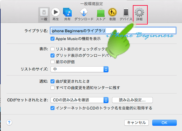 Macパソコン_iTunes_一般環境設定画面_詳細アイコン