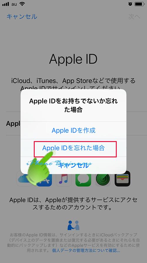 AppleIDサインイン画面_AppleIDをお持ちでないか忘れた場合wo