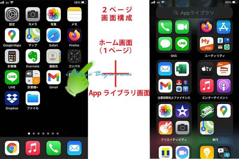 ホーム画面とAppライブラリの2画面構成