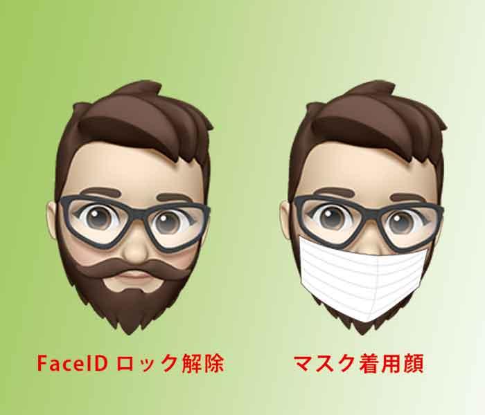 マスク着用顔_FaceIDロック解除