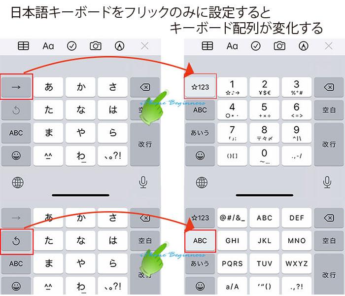 iphone12_日本語かな入力キーボード_フリックのみに設定するとキーボード配列が変化