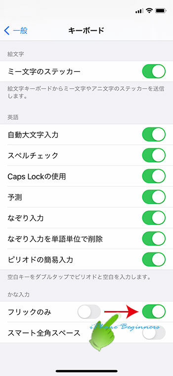 iphone12_キーボード設定画面_フリックのみ設定